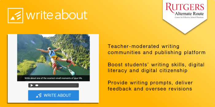 Writeabout - Teacher-moderated writing communities and publishing platform. Boost students' writing skills, digital literacy and digital citizenship. Provide writing prompts, deliver feedback and oversee revisions.