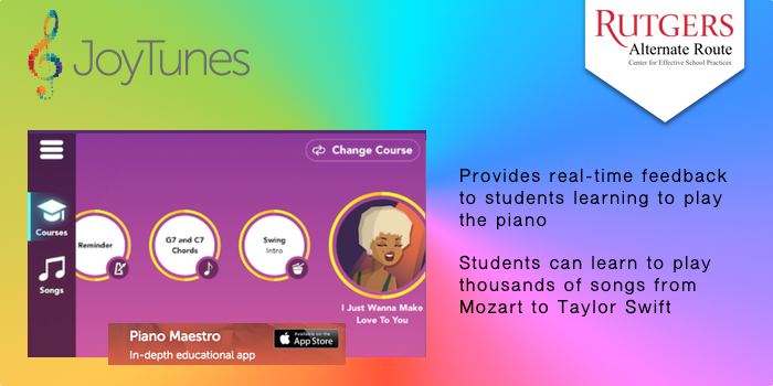 JoyTunes - Provides real-time feedback to students learning to play the piano. Students can learn to play thousands of songs from Mozart to Taylor Swift.