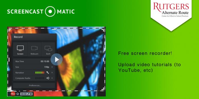 Screencastmatic - Free screen recorder! Upload video tutorials (to YouTube, etc).