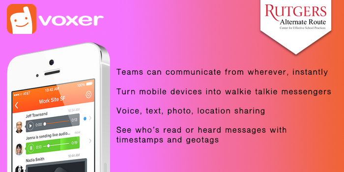 Voxer - Teams can communicate from wherever, instantly. Turn mobile devices into walkie talkie messengers Voice, text, photo, location sharing. See who's read or heard messages with timestamps and geotags,