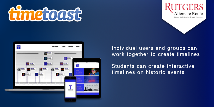 TimeToast -  Individual users and groups can work together to create timelines.  Students can create interactive timelines on historic events.