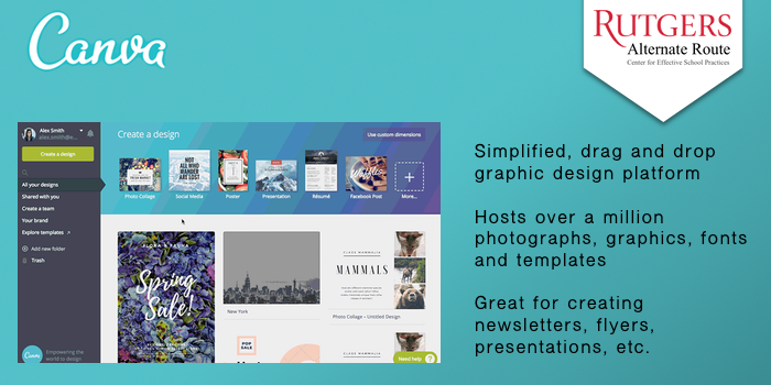 Canva - Simplified, drag and drop graphic design platform Hosts over a million photographs, graphics, fonts and templates. Great for creating newsletters, flyers, presentations, etc.
