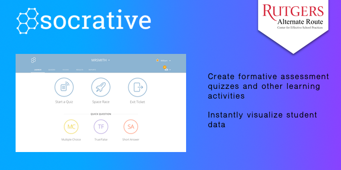 Socrative - Create formative assessment quizzes and other learning activities. Instantly compiles student data.