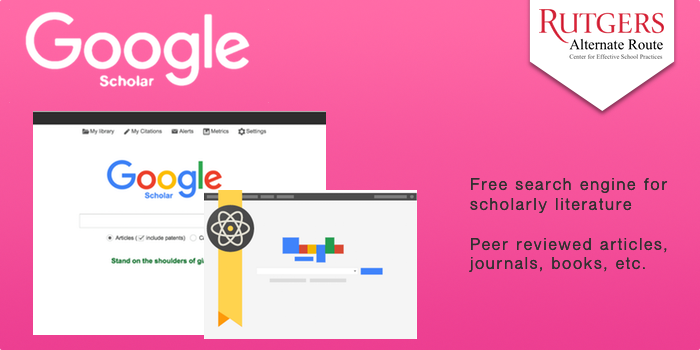 Google Scholar - Free search engine for scholarly literature. Peer reviewed articles, journals, books, etc.