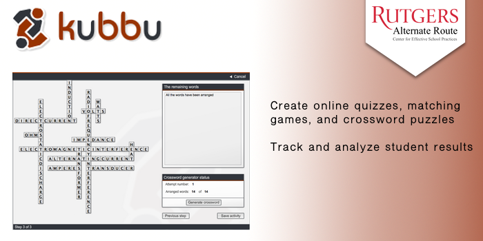 Kubbu - Create online quizzes, matching games, and crossword puzzles. Track and analyze student results.