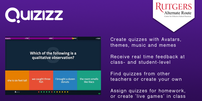 Quizizz - Create quizzes complete with Avatars, leaderboards, themes, music and memes. Receive real time feedback at class- and student-level. Find quizzes from other teachers or create your own. Assign quizzes as homework, or in class.