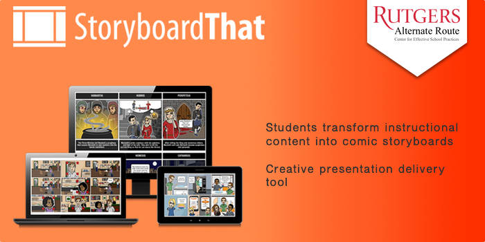 StoryboardThat - Students transform instructional content into comic storyboards. Creative presentation delivery tool