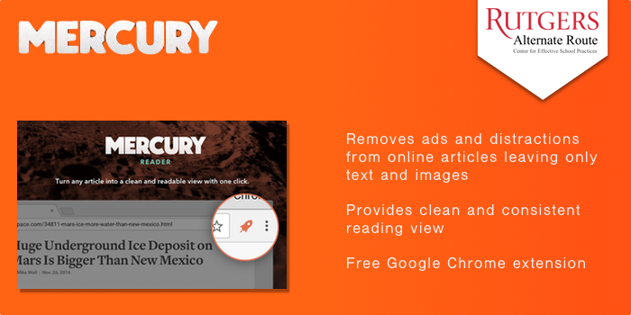 Mercury Reader - Removes ads and distractions from online articles leaving only text and images. Provides clean and consistent reading view Free Google Chrome extension.