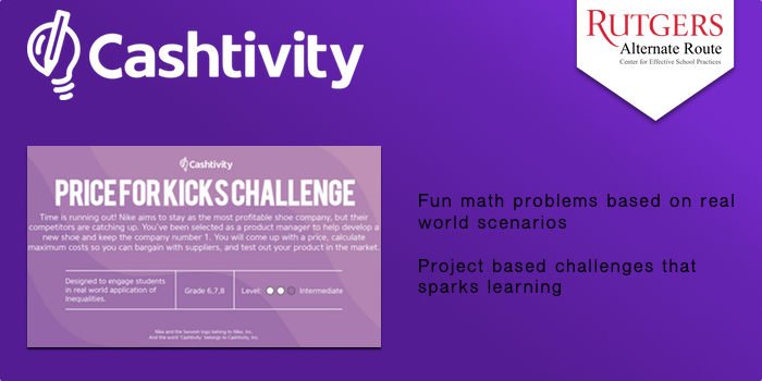 Cashtivity - Fun math problems based on real world scenarios. Project based challenges that sparks learning.