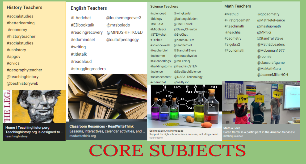 1f84056ee1 Teachers of these Core Subjects can search the hashtags and handles  displayed below to find strategies
