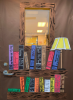 Image of bookshelves and books made out of construction paper